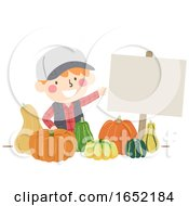 Kid Boy Pumpkins Sell Play Pretend Illustration