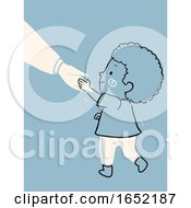 Poster, Art Print Of Kid Boy Child Raising Polite Illustration