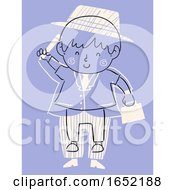 Kid Boy Draw Adult Suit Illustration
