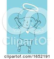 Poster, Art Print Of Kid Boy Little Angel Illustration