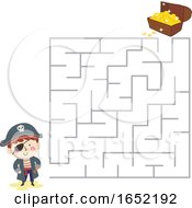 Kid Boy Pirate Maze Treasure Chest Illustration