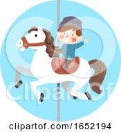 Kid Boy Ride Carousel Illustration