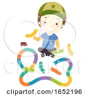 Kid Boy Build Toy Car Track Illustration