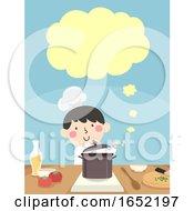 Kid Boy Chef Cook Speech Cloud Illustration