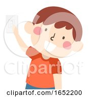 Kid Boy Chores Turn Off Light Switch Illustration