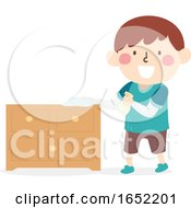 Kid Boy Clean Wipe Cabinet Illustration