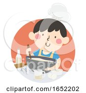 Kid Boy Pastry Chef Illustration