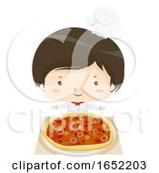 Kid Boy Pizza Chef Illustration