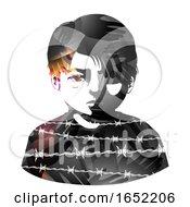 Poster, Art Print Of Kid Boy Hands Barb Wire Struggles Illustration