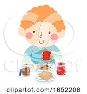 Kid Boy Make His Own Lunch Sandwich Illustration