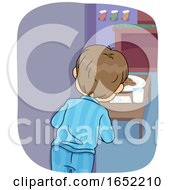 Kid Boy Peek Santa Coming Illustration