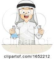 Kid Boy Qatari Lab Experiment Illustration
