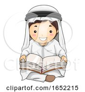 Kid Boy Qatari Read Book Illustration