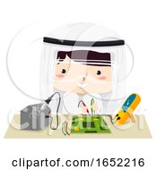 Kid Boy Qatari Robotics Illustration