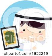 Kid Boy Qatari Tablet Quran Illustration