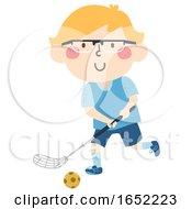Kid Boy Sweden Floorball Illustration