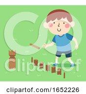 Kid Boy Sweden Play Kubb Illustration
