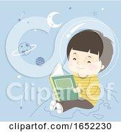 Kid Boy Astronomy Book Space Illustration