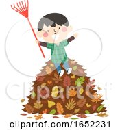 Kid Boy Autumn Rake Pile Leaves Illustration