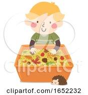 Kid Boy Autumn Sensory Bin Illustration