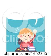 Kid Boy Class Raise Hand Speech Bubble