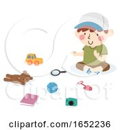 Kid Boy Count Toys Illustration