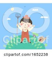 Kid Boy Farmer Farm Illustration