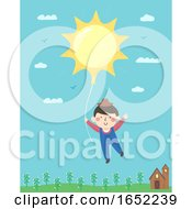 Kid Boy Farmer Sun Balloon Illustration