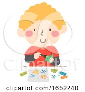 Kid Boy Flower Leaf Color Print Illustration