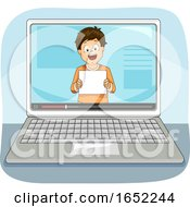 Kid Boy Laptop Fan Sign Illustration