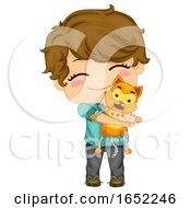 Kid Boy Robot Cat Pet Illustration