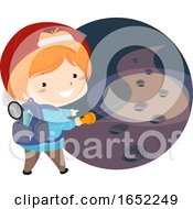 Kid Boy Follow Mystery Foot Print Illustration