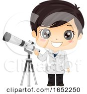 Kid Boy Astronomer Illustration