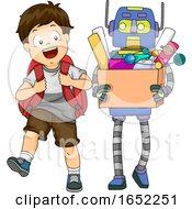 Kid Boy Robot Assistant School Illustration