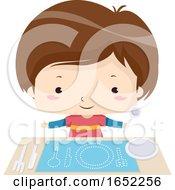 Kid Boy Fill Blanks Utensils Illustration