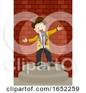 Kid Boy Comedian Stage Illustration