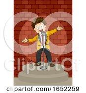 Kid Boy Comedian Stage Illustration by BNP Design Studio