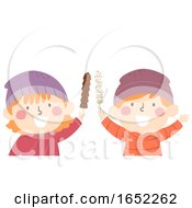 Kids Chocolates On Stick Illustration