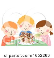Kids Decorate Ginger Bread House Illustration