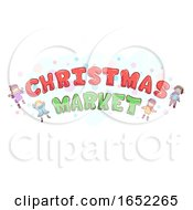 Stickman Kids Christmas Market Text Design