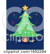 Christmas Tree Building Illustration