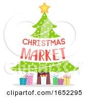 Christmas Tree Market Text Design Illustration