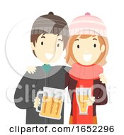 Couple Christmas Beer Illustration