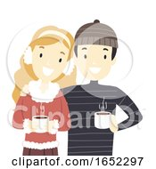 Couple Christmas Hot Choco Illustration