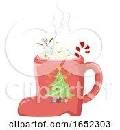 Hot Choco Shoe Mug German Souvenir Illustration