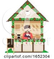 Man Coffee Stall Christmas Market Illustration