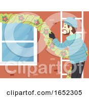 Man Decorate House Outdoor Christmas Illustration
