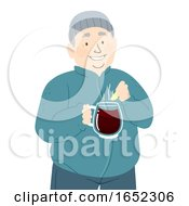 Man Gluhwein Hot Wine Illustration