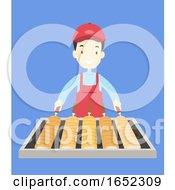Man Xmas Market Chimney Cake Stall Illustration