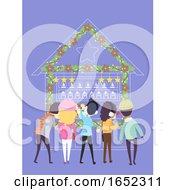 People Christmas Market Back Illustration